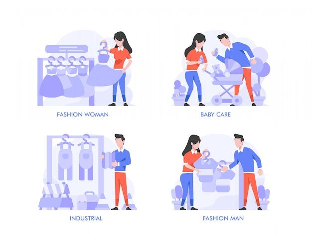 Zakupy online lub koncepcja e-commerce w stylu płaskiej konstrukcji. kobieta mody, mężczyzna mody, produkt do pielęgnacji niemowląt, stolarz, styl życia przy obróbce drewna, sklep, sklep, ilustracja kategorii.