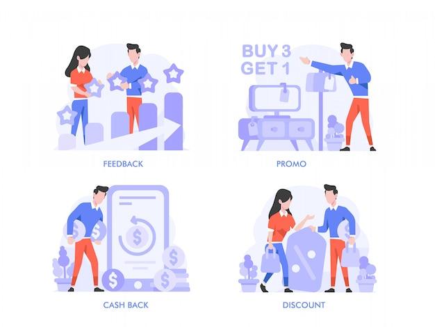 Zakupy online lub koncepcja e-commerce w stylu płaskiej konstrukcji. opinie, oceny, recenzja, promocja, wyprzedaż, rabat, sklep cashback, koszyk, ilustracja sklepu