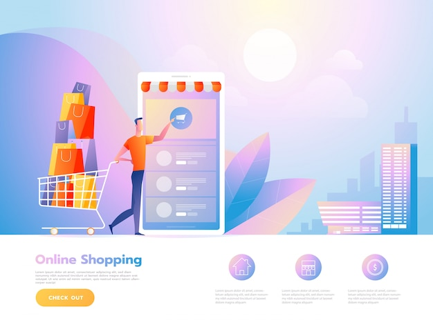 Zakupy online ludzi i interakcji ze sklepem. szablon strony docelowej. ilustracja wektorowa izometryczny.