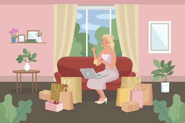 Zakupy online mieszkanie. zakupy e-commerce. kobieta kupuje z domu.