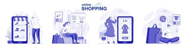 Zakupy online na białym tle w płaskiej konstrukcji ludzie wybierają ubrania i płacą za zakupy na miejscu