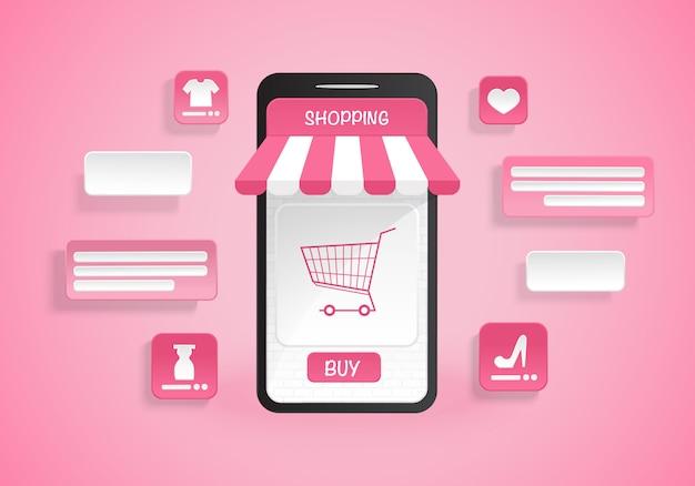 Zakupy online na ilustracji aplikacji na smartfonie na różowym tle