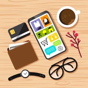 Zakupy online na stole
