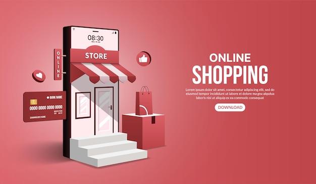 Zakupy online na stronie internetowej i aplikacji mobilnej za pomocą smartfona sklep i sklep z marketingiem cyfrowym