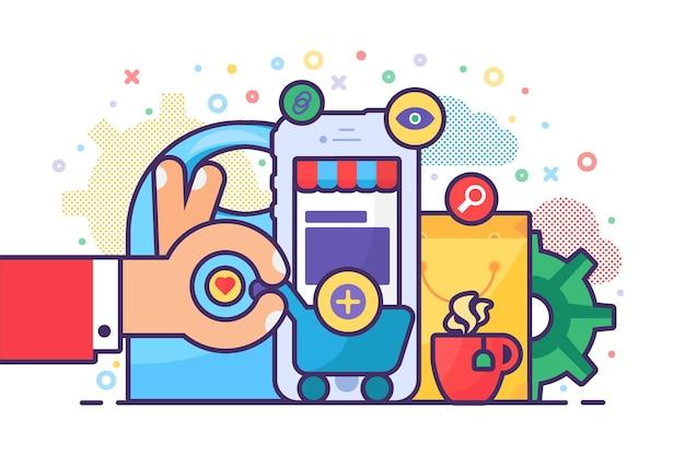 Zakupy online na stronie internetowej lub aplikacji mobilnej z koszykiem i smartfonem. koncepcja handlu elektronicznego i biznesu cyfrowego. płaska ilustracja wektorowa