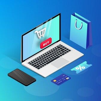 Zakupy online na stronie internetowej lub w aplikacji mobilnej. 3d izometryczny koncepcja marketingowa ilustracja. laptop, smartfon, torba na zakupy na niebieskim tle. do banerów internetowych, infografik, prezentacji