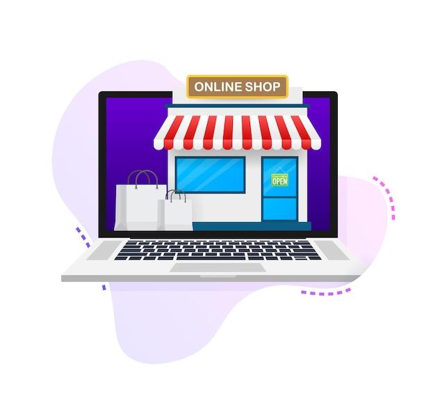 Zakupy online na stronie internetowej. sklep internetowy, koncepcja sklepu na ekranie laptopa. ilustracja wektorowa.