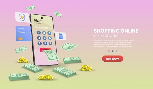 Zakupy online na telefonie komórkowym. usługa dostawy online