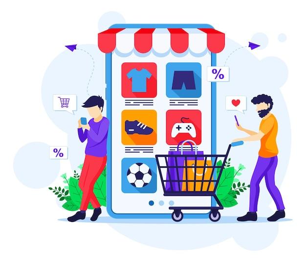 Zakupy online płaska ilustracja koncepcja