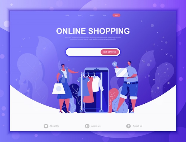 Zakupy online płaskie koncepcja, szablon strony docelowej strony internetowej