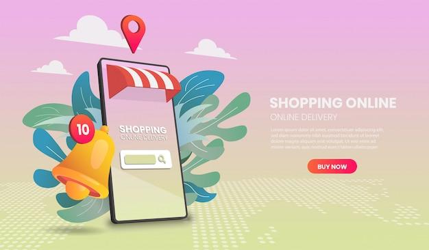 Zakupy online przez telefon komórkowy. dostawa online. ilustracja wektorowa 3d