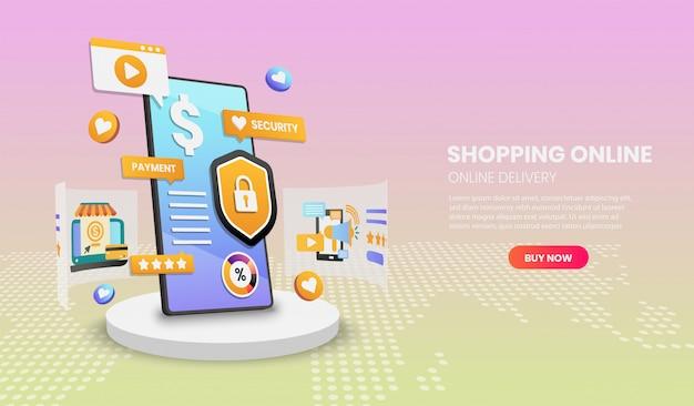 Zakupy online przez telefon komórkowy. usługa dostawy online. ilustracja wektorowa 3d, obraz bohatera na stronie internetowej
