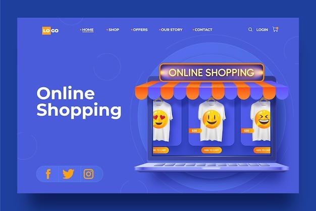 Zakupy online realistyczna strona docelowa szablonu