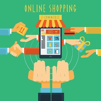 Zakupy online ręce koncepcja druku