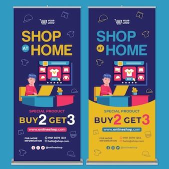 Zakupy online roll up banner drukuj szablon w stylu płaskiej konstrukcji
