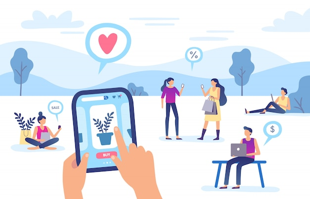 Zakupy online. sklep internetowy, płatność przelewem na smartfony i zakupy w sieci płacą ilustrację