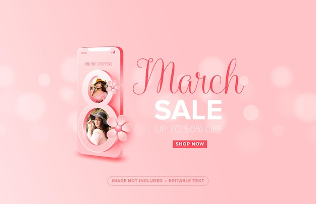 Zakupy online specjalne szczęśliwego dnia kobiet 8 marca na mobilnej koncepcji