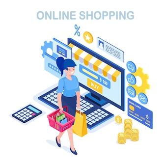 Zakupy online, sprzedaż. kup w sklepie detalicznym przez internet. izometryczna kobieta z koszem, komputerem, pieniędzmi
