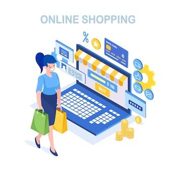 Zakupy online, sprzedaż. kup w sklepie detalicznym przez internet. izometryczna kobieta z torbą, komputerem, pieniędzmi
