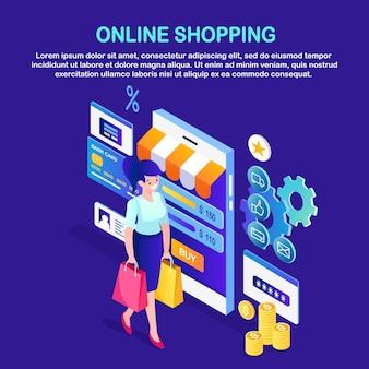Zakupy online, sprzedaż. kup w sklepie detalicznym przez internet. izometryczna kobieta z torbą, telefonem, pieniędzmi