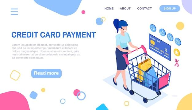 Zakupy online, sprzedaż. kup w sklepie detalicznym przez internet. izometryczna kobieta z wózkiem, wózkiem, torbą