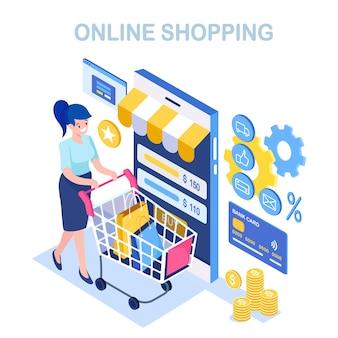 Zakupy online, sprzedaż. kup w sklepie detalicznym przez internet. izometryczne kobieta z koszykiem, wózek