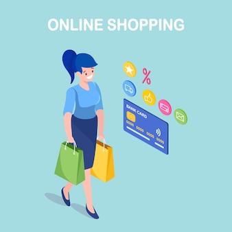Zakupy online, sprzedaż. kup w sklepie detalicznym przez internet. izometryczne kobieta z pakietem na zakupy, torbą