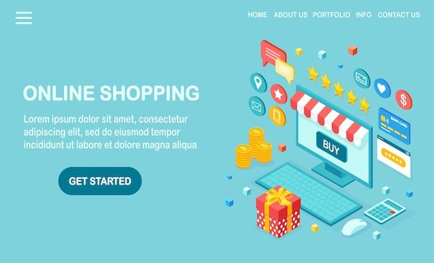 Zakupy online, sprzedaż. kup w sklepie detalicznym przez internet. komputer izometryczny, laptop z pieniędzmi, karta kredytowa, recenzja klienta, opinia, pudełko upominkowe, niespodzianka.