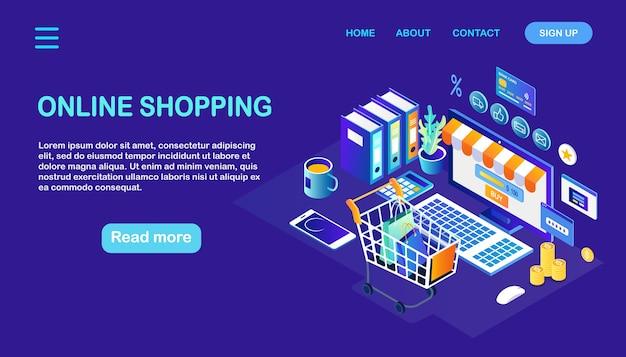 Zakupy online, sprzedaż. kup w sklepie detalicznym przez internet. komputer z koszykiem, wózek, pieniądze