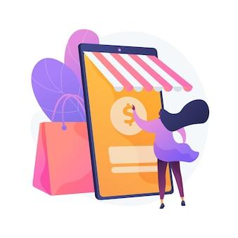 Zakupy online streszczenie ilustracja koncepcja