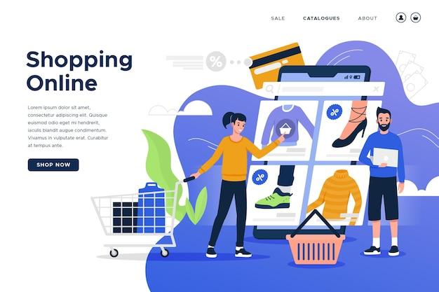 Zakupy online strona docelowa w płaskiej konstrukcji