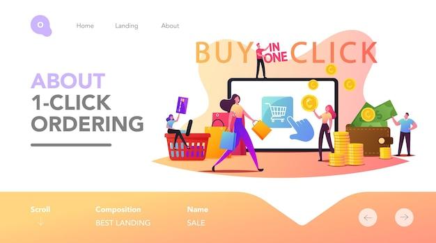Zakupy online szablon strony docelowej zakupu jednym kliknięciem. małe postacie klientów z kartą kredytową kupujące towary na ogromnym ekranie gadżetów. cyfrowy biznes internetowy. ilustracja wektorowa kreskówka ludzie