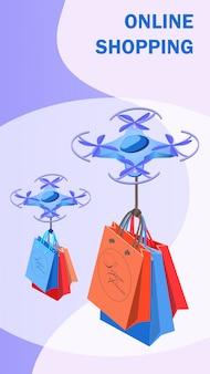 Zakupy online szablon transparent wektor izometryczny
