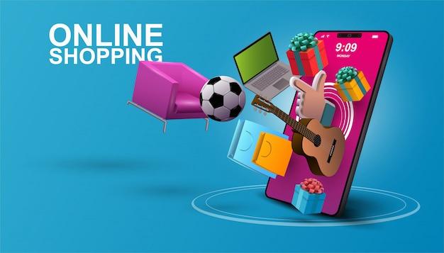Zakupy online, tło aplikacji mobilnej