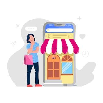 Zakupy online w aplikacjach mobilnych lub na stronach internetowych ilustracji