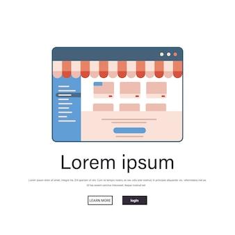 Zakupy online w aplikacji internetowej biznes internetowy e-commerce koncepcja marketingu cyfrowego okno przeglądarki internetowej miejsce na kopię