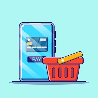 Zakupy online w aplikacji mobilnej z ilustracji karty kredytowej. zakupy ikona koncepcja na białym tle.