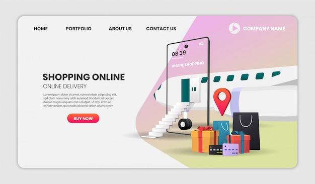 Zakupy online w aplikacji mobilnej z samolotem concept digital na stronę docelową. ilustracja 3d, obraz bohatera na stronę internetową