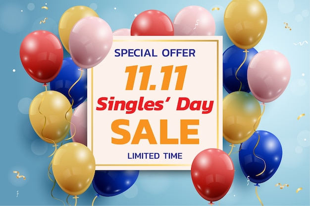 Zakupy online w chinach, baner sprzedaży dnia singli 11.11.