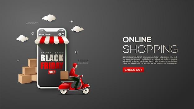 Zakupy online w czarny piątek z ilustracją przedstawiającą kuriera dostarczającego towary i telefon komórkowy 3d.