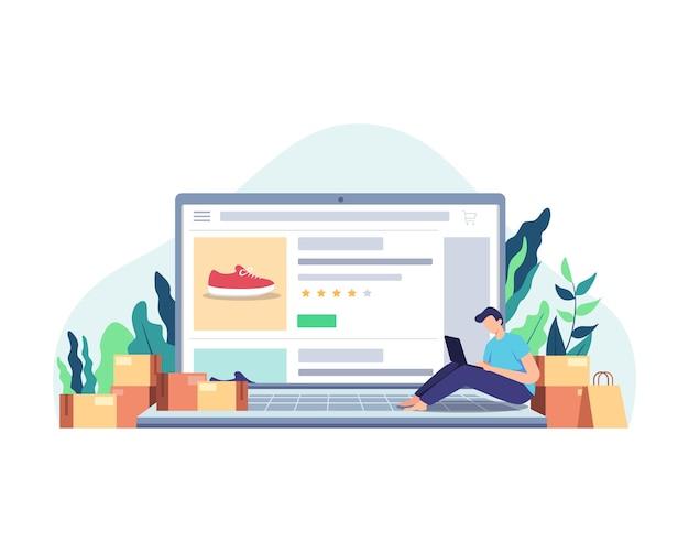 Zakupy online w domu za pomocą laptopa. klient dokonuje wyboru towaru do zamówienia. w stylu płaskiej