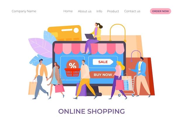 Zakupy online w ilustracji sklepu