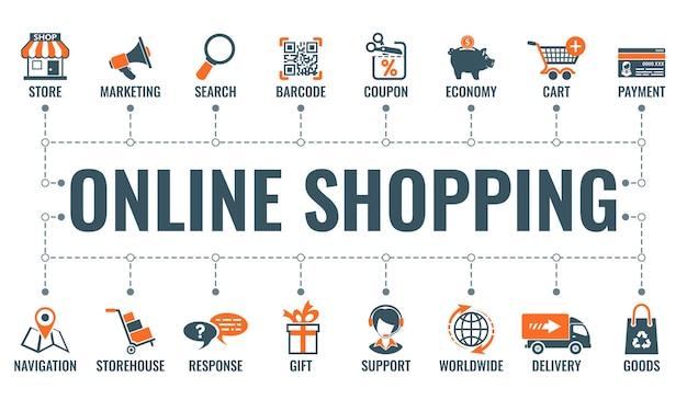 Zakupy online w internecie poziomy baner z dwoma kolorowymi ikonami płaski sklep, dostawa, sprzedaż i towary. koncepcja typografii. ilustracja wektorowa na białym tle