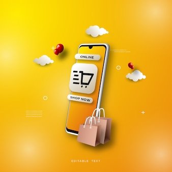 Zakupy online w tle ze smartfonem na żółtym tle.