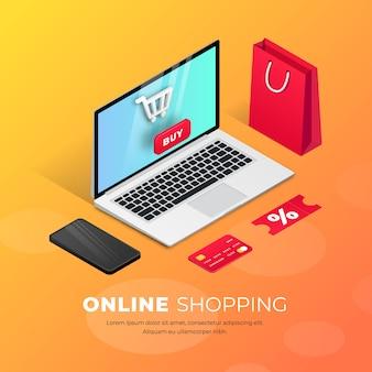 Zakupy online w witrynie lub aplikacji mobilnej. 3d isometric pojęcia marketingowa ilustracja. smartfon, torba na zakupy, karta kredytowa wokół laptopa. na baner, infografiki, prezentację