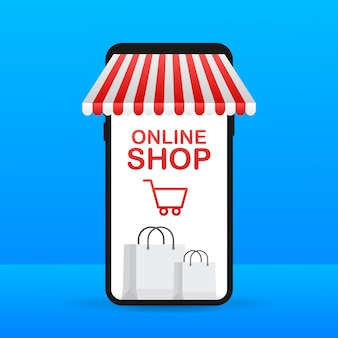 Zakupy online w witrynie. sklep internetowy, koncepcja sklepu na ekranie smartfona