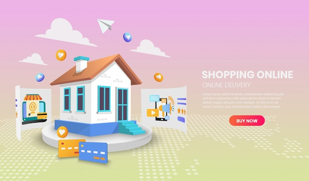 Zakupy online z koncepcją domu. usługa dostawy online. ilustracja wektorowa 3d, obraz bohatera na stronie internetowej