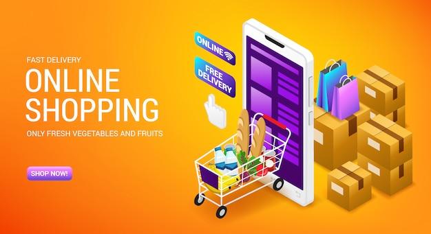 Zakupy online, zamówienie usługi dostawy, strona docelowa sklepu internetowego z kartonami i koszykiem izometrii, ilustracja.