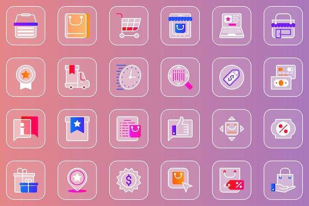 Zakupy online zestaw ikon glassmorphic w sieci