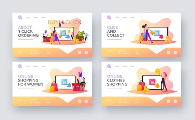 Zakupy online zestaw szablonów strony docelowej zakupu jednym kliknięciem. małe postacie klientów z kartą kredytową kupuj towary na ogromnym ekranie gadżetów. cyfrowy biznes internetowy. ilustracja wektorowa kreskówka ludzie